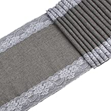 OurWarm 14 x 108 Inch Grey Linen Burlap Table Runner Wedding Party Bridal Baby Shower Thanksgiving Halloween Christmas Decorations
