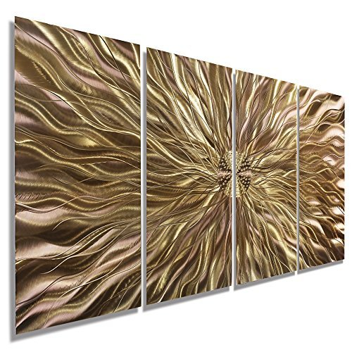 Electrifying Modern Earthtone Hand-Etched Metal Abstract Wall Art - Home Decor, Home Accent, Contemporary Metallic Wall Sculpture by Jon Allen - 51