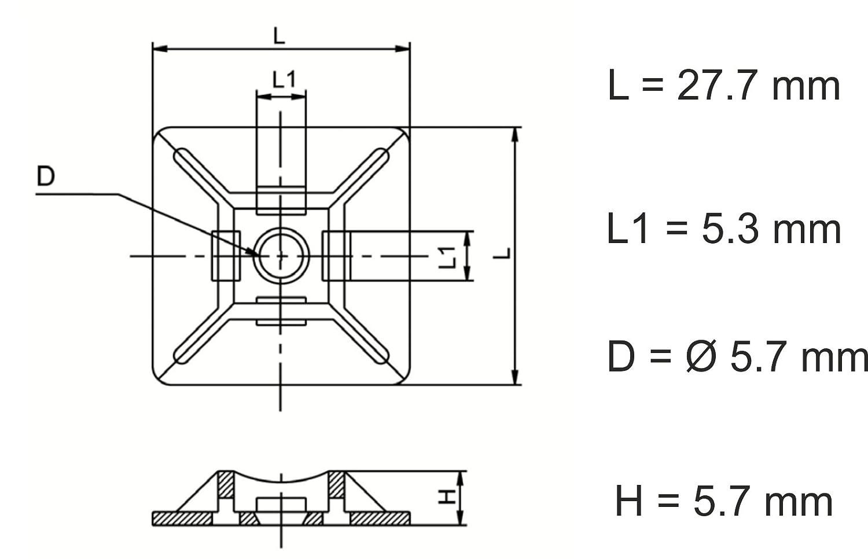 Noir Embase pour Collier de Serrage 28mm x 28 mm Serre-C/âbles Auto Adh/ésif Support de Serre C/âble Plastique intervisio 100 Pi/èces Embases Adhesive pour Attache de Cable