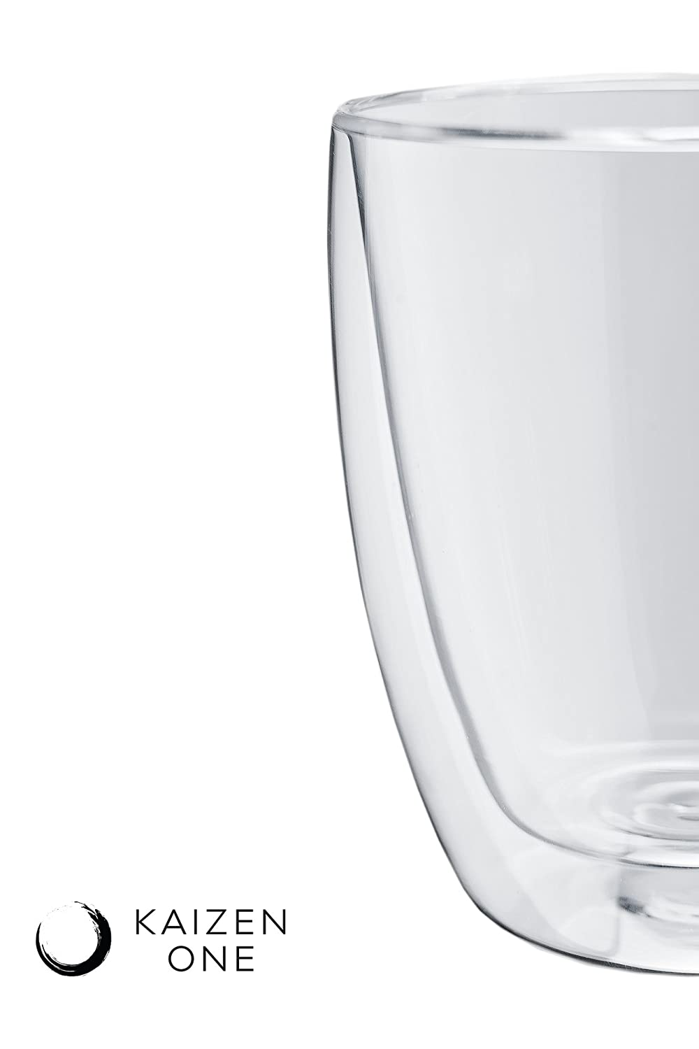 AURA Double Wall Insulated Glass Mugs by Kaizen One 12oz Set of 2