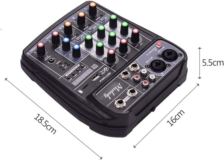 Muslady AI-4 Compact Sound Card Mixing Console Digital Audio Mixer 4-Channel BT MP3 USB Input 48V Phantom Power for Music Recording DJ Network Live Broadcast Karaoke