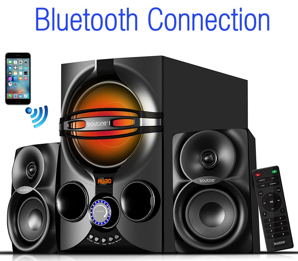 Boytone BT-324F, 2.1 Bluetooth powerful home theater speaker systems, with FM Radio, SD USB ports, digital play back, 40 watts, RGB light, Full function remote control, smartphone, Tablet by Boytone