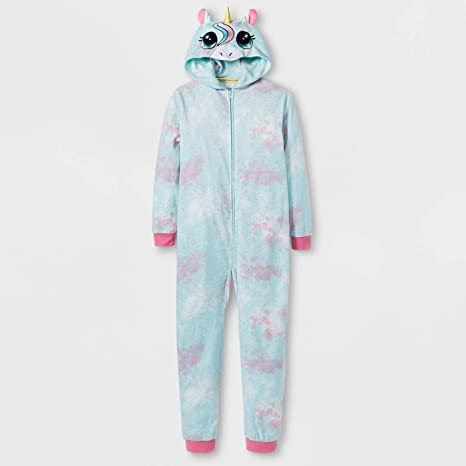 10bc684025b3 Amazon.com   Hooded Fleece Pajamas Unicorn Girls L 10-12 Onesie ...