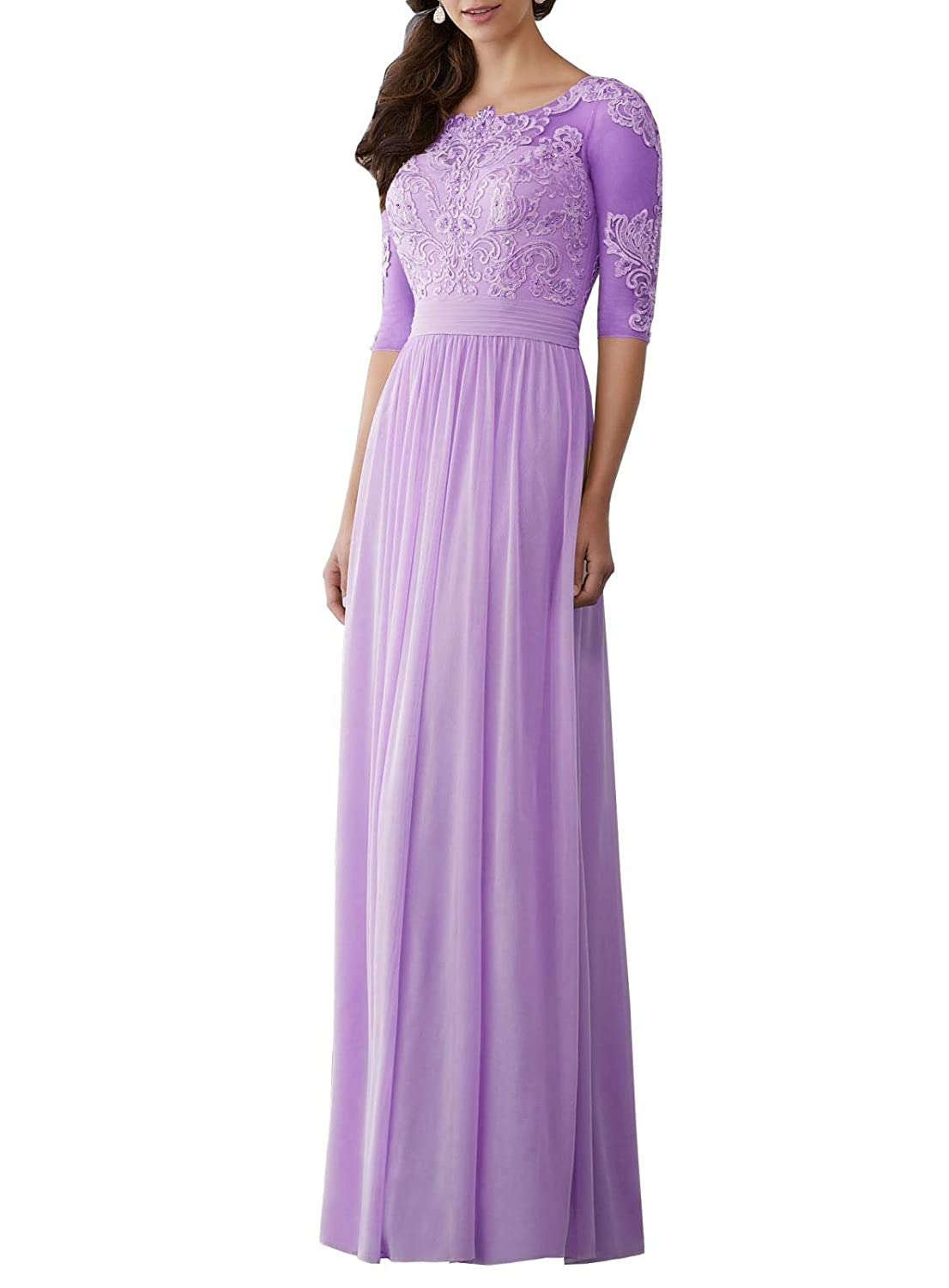 Light Purple Wanshaqin Women's Aline Illusion Lace Appliques Evening Gown Formal Wedding Party Dress for Brides with Pleated Empire Waist