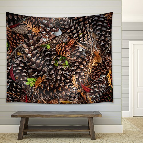 Various Pine Cones on Forest Floor View from above Fabric Wall Tapestry