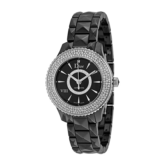 03a0096b8dea Christian Dior VIII Diamante Negro Cerámica y reloj de mujer de acero  CD1235E1 C001  Amazon.es  Relojes