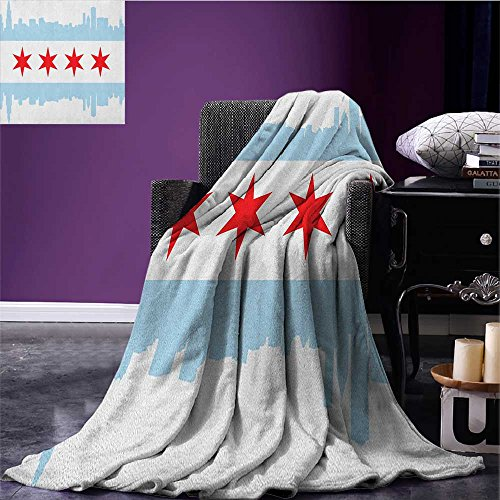 Chicago Skyline couch blanket City of Chicago Flag with High Rise Buildings Scenery National Custom Red White Baby Blue size:51