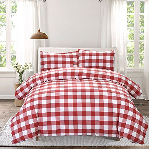 Funky Sheet Sets (SUSYBAO 3 Pieces Duvet Cover Set 100% Natural Washed Cotton Queen Size 1 Duvet Cover 2 Pillowcases Luxury Quality Soft Comfortable Breathable Red White Checkered Plaid Pattern with Zipper Ties)