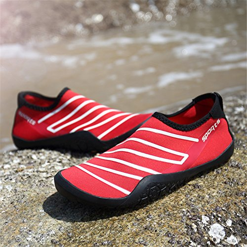 Men's Beach Women's Unisex Skin for Swim Shoes Surf Barefoot Water Yoga Quick Shoes Red Dry PPgr1