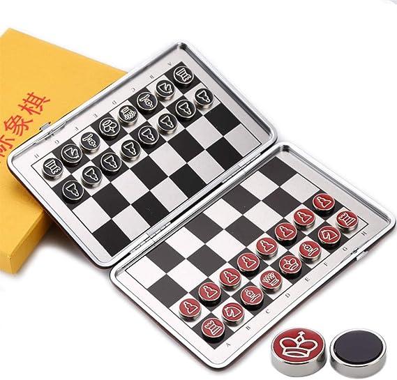 YOBENS NBM Juego de ajedrez magnético de Viaje Mini Juego de ajedrez de Bolsillo Pieza de ajedrez magnética Cuero de PU Tablero de ajedrez Plegable Aleación de Acero Chessman I53: Amazon.es: Hogar