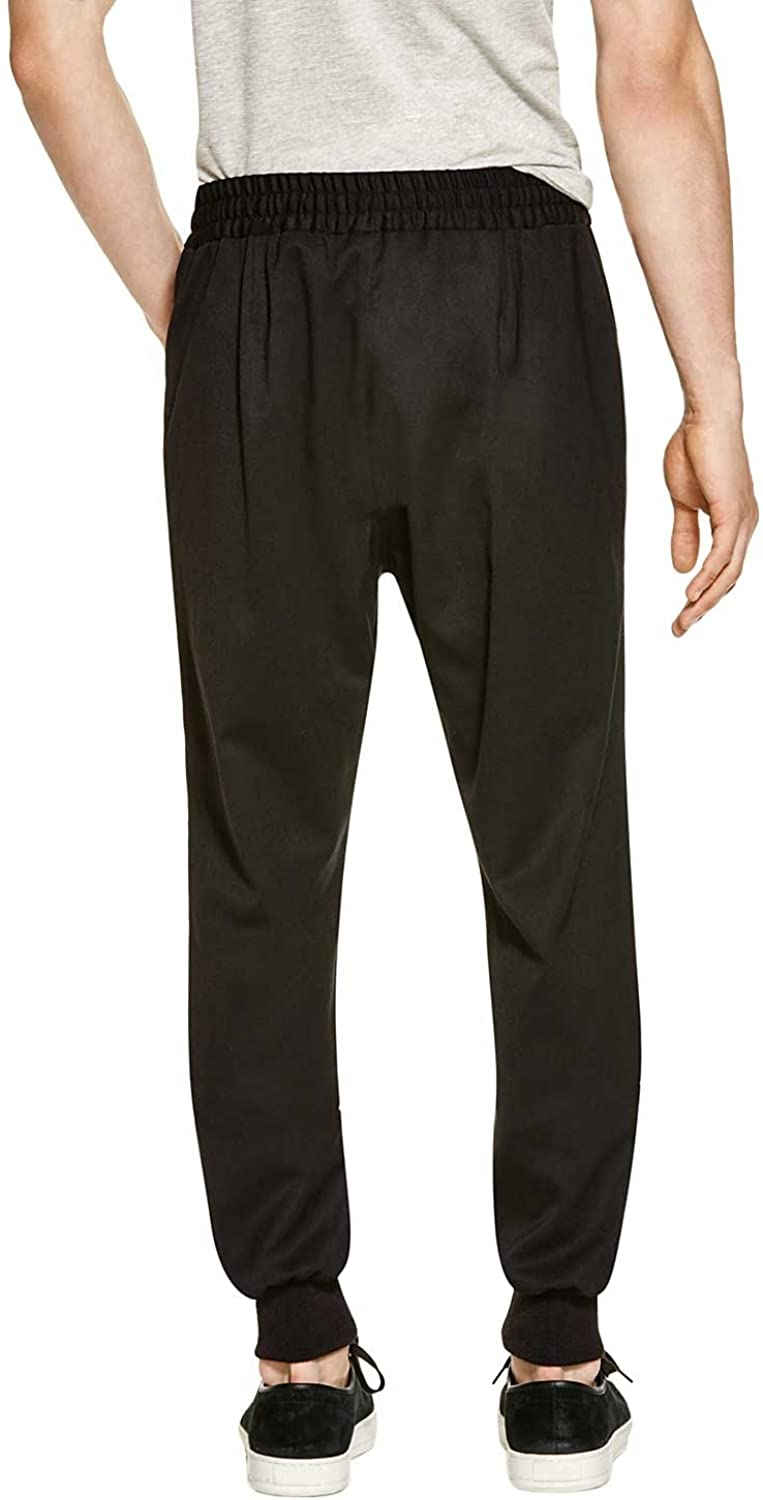 Paul Smith Mens Solid Color Drawstring Cuffed Trousers 36 Black Pants