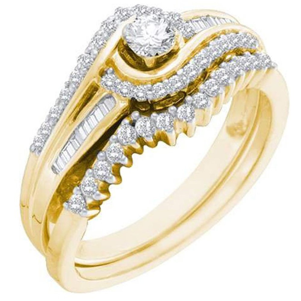 0.40 Carat (ctw) 14K Yellow Gold Round & Baguette White Diamond Engagement Ring Band Set (Size 9)