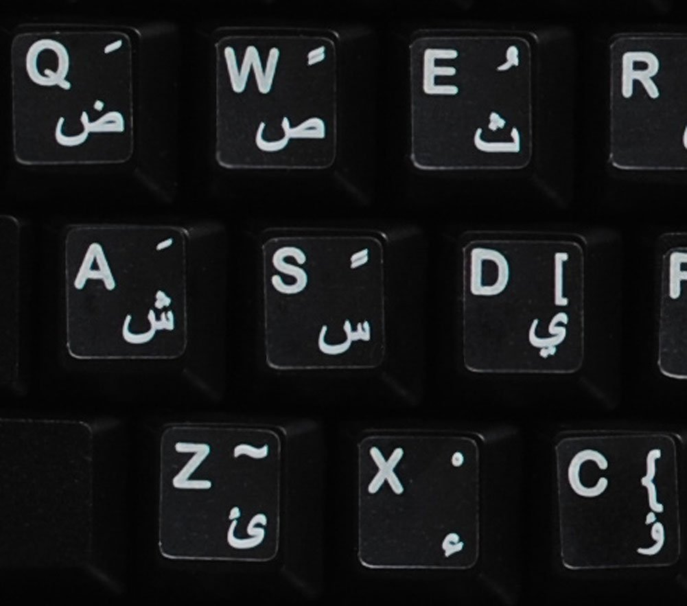 Arabic Stickers for Keyboard with White Letters Transparent for Computer LAPTOPS Desktop