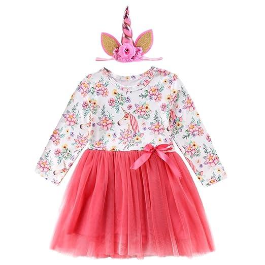 fdb5f70e3afd Newborn Baby Toddler Girl Unicorn Pastel Tutu Dress with Headband First  Birthday Party Princess Summer Clothes