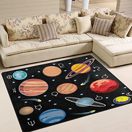 ALAZA Universe Galaxy Solar System Star Area Rug Rugs for Living Room Bedroom 7' x 5' by ALAZA