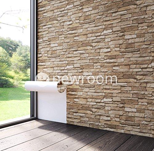 steintapete vlies braun beige schne edle tapete im steinmauer design moderne 3d optik fr wohnzimmer schlafzimmer oder kche inklusive - Steintapete Beige Wohnzimmer