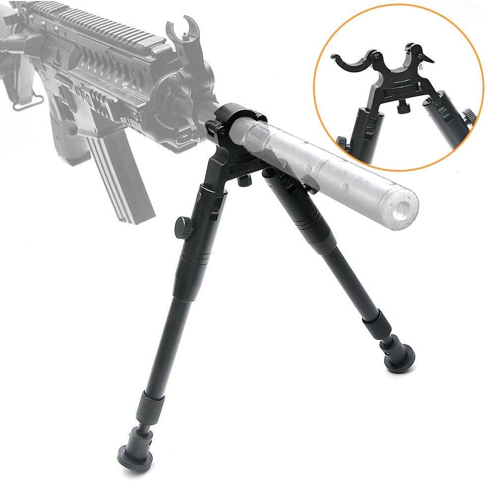 JASHKE Bípode con Abrazadera para Rifles de 6-9 Pulgadas, Duro y Plegable, Altura Ajustable, pies de Goma, de Metal, Montaje Universal