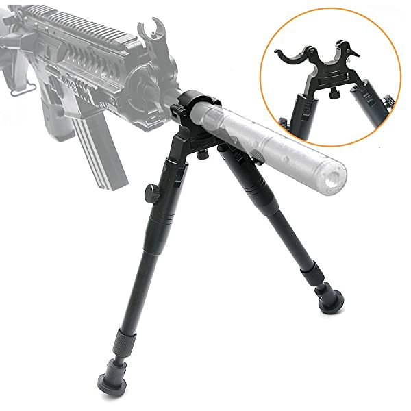 bestsight Clamp-on Bipod for Rifles 6-9 inch Folding Hard Bipod Adjustable Height Rubber Feet Metal Universal Mount (Color: Round tube bipod, Tamaño: 6 ~9inches)
