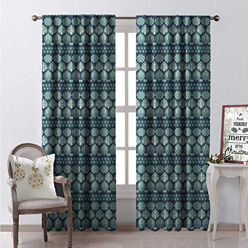 Aqua Paisley Window Curtain Fabric Abstract Oriental Floral Continuous Illustration Drapes for Living Room W84 x L84 Dark Slate Blue Almond Green Eggshell ()