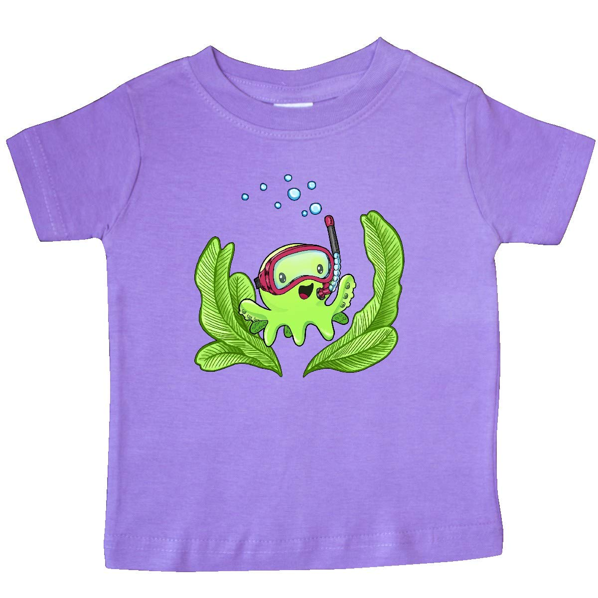 inktastic Cute Octopus in Snorkeling Mask with Seaweed Baby T-Shirt