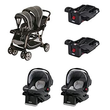 Graco Ready2Grow Dual Stroller With 2 Car Seats And Bases Travel System