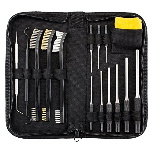 Pistol Pin (All-In-One Gun Cleaning Kit with Grip Roll Pin Punch Tool Set, Gun Cleaning Brush Pick Kit, Anti-Rust Silicone Cloth in Zippered Organizer Space Saving Carry Case (15 Pieces)by BOOSTEADY)