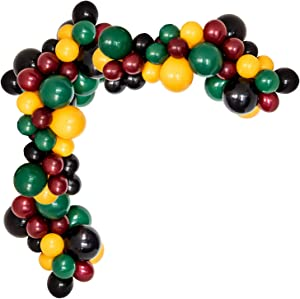 Magic Wizard School Balloons Garland Arch Kit, 103Pack Green Yellow Black Burgundy Round Balloons for Baby Kids Birthday Party Baby Shower Potter Theme Party Supplies