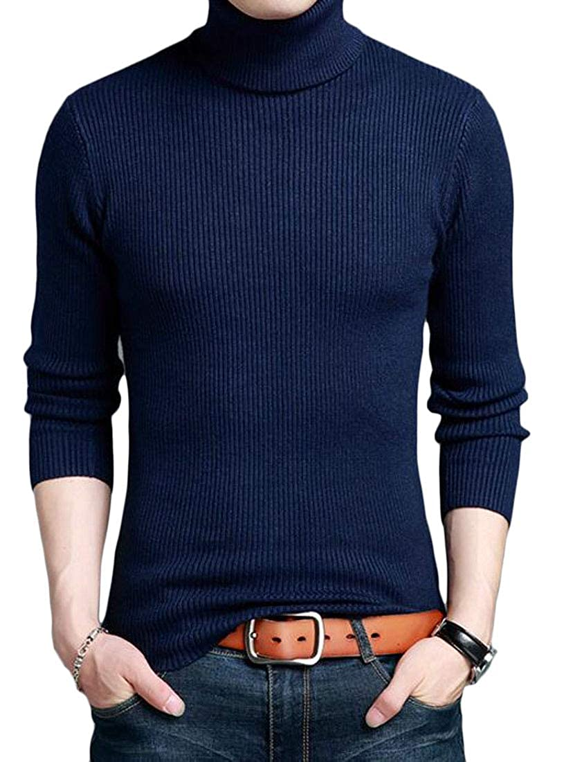 Pandapang Mens Knit Turtle Neck Pullover Stretchy Jumper Wool Blend Sweater