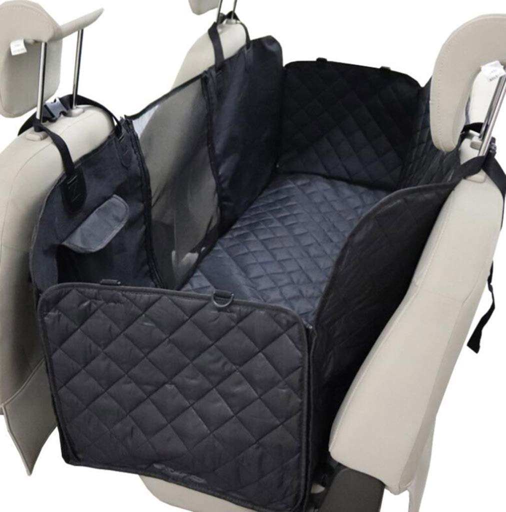 Black 137X147CM Black 137X147CM BYCDD Pet Seat Covers for Cars Back Seat, Waterproof Dog Seat Covers with Storage Pockets and Zipper for Cars Trucks and SUVs,Black_137X147CM