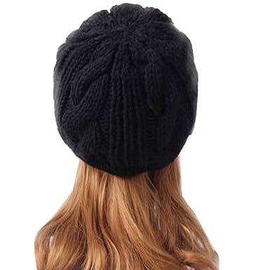 80180f0250fb Femme Hiver Chapeau Fille Tricoté Bonnet  Béret Casquette  Amazon.fr ...