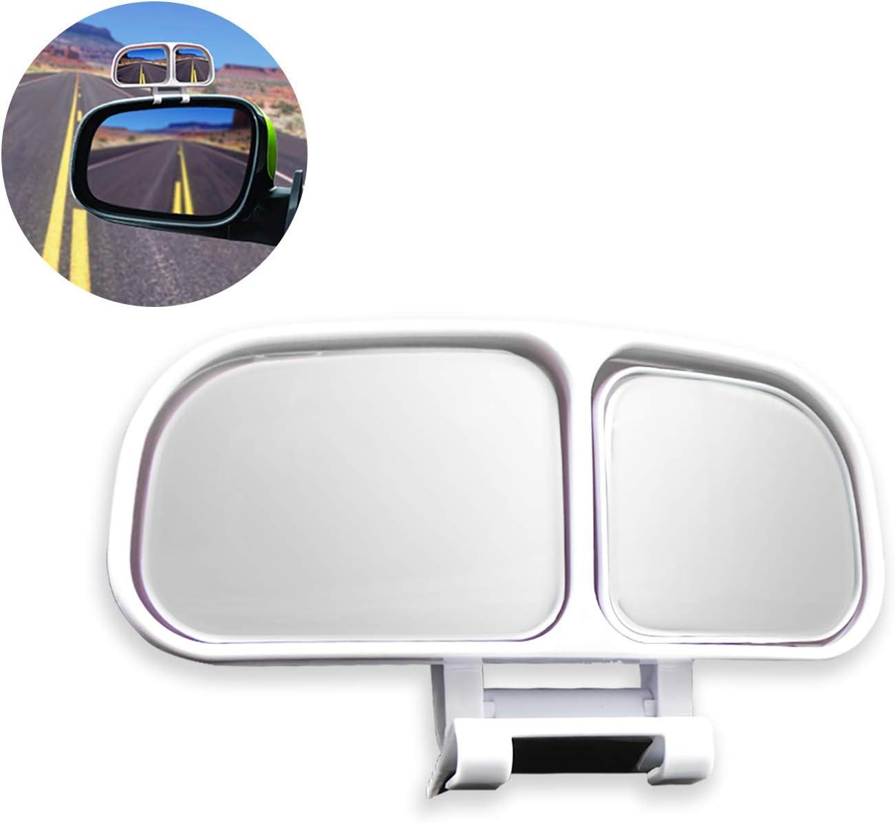 WEKON Espejo para puntos ciegos, espejo auxiliar ajustable para espejos laterales o puertas ciegos, espejos retrovisores impermeables de gran ángulo para vehículos universales SUV Truck (blanco)