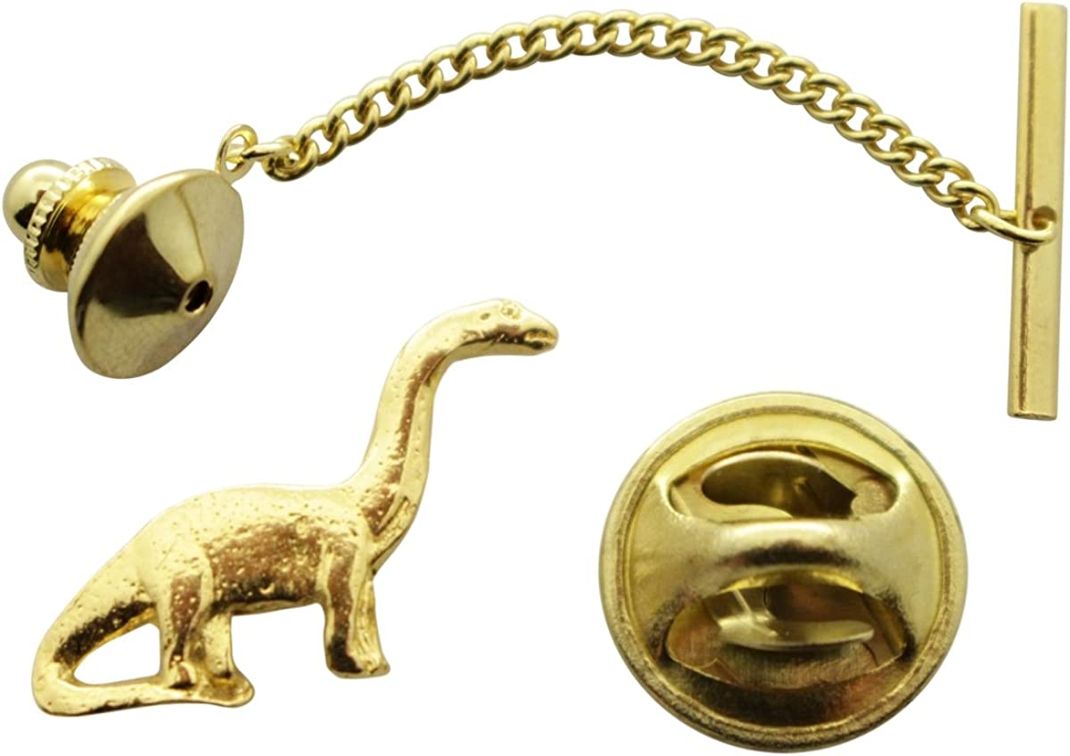 Sarah's Treats & Treasures Brontosaurus Tie Tack ~ 24K Gold ~ Tie Tack or Pin