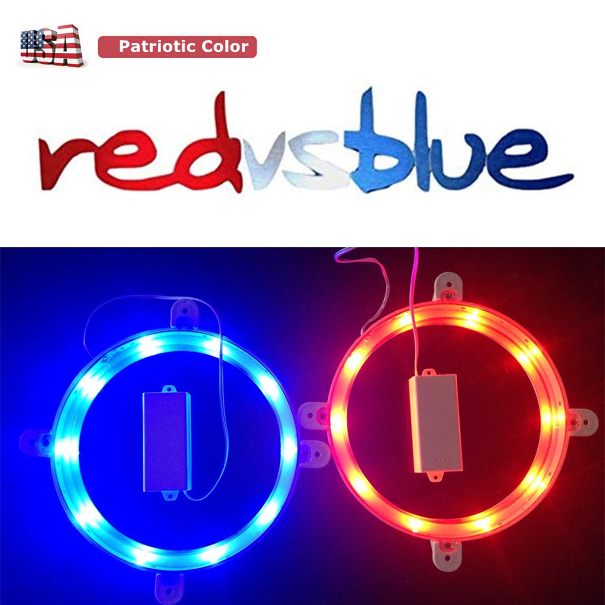 Cornhole Board Lights Set of 2, Waterproof LED Corn Hole Lights for Standard 6'' Boards Ring, Weather Resistant, Long Lasting, Enjoy Your Tailgates Backyard Lawn Toss Game, Patriotic Color Blue & Red