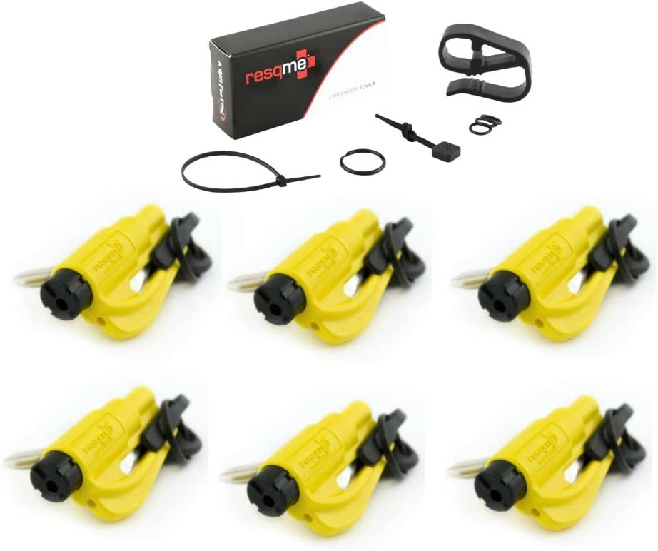Yellow resqme The Original Keychain Car Escape Tool with Visor Clip and Lanyard Value Pack