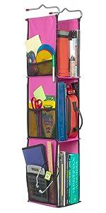 "LockerWorks 3 Shelf Adjustable Hanging Organizer, Sturdy & Compact, 20-38"" Tall x 6"" Wide x 9"" Deep, Shelves 12""-14"" Tall, Hangs from Shelf, Hooks or Rod to Create Storage Space. Fuchsia w/Black Trim"