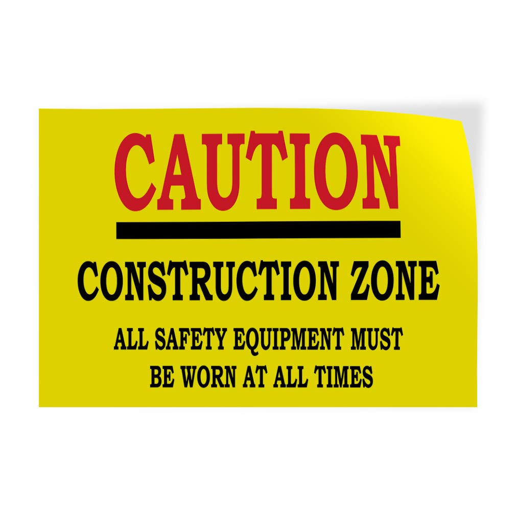 Decal Sticker Multiple Sizes Caution Yellow Black Lifestyle Safety Equipment Must be Worn Outdoor Store Sign Yellow 36inx24in Set of 5