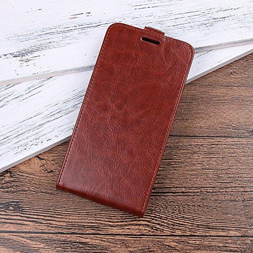 Para Samsung Galaxy J3 (2017) J330 Caso compacto de piel PU, arriba-abajo piel abierta PU Funda de piel con ranura para tarjeta y función de protección completa con cierre magnético Caja a prueba de g marrón