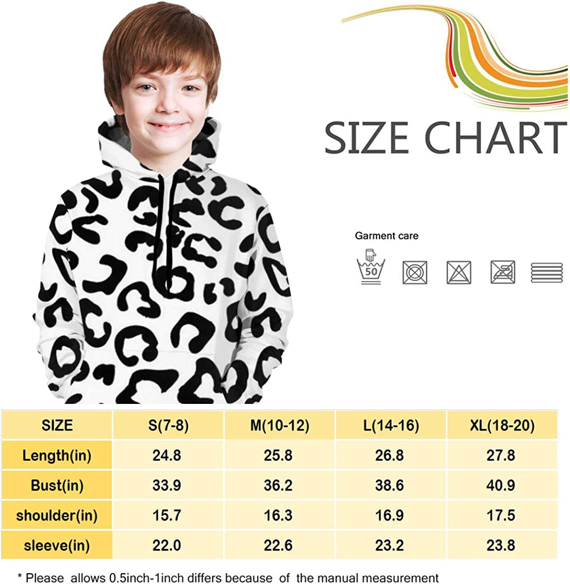 Black White Cheetah Print Students Hooded Sweate Pullover Drawstring Pocket Stylish Coat for Students