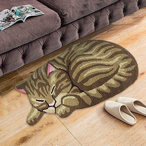 Ustide Cute Sleeping Cat Shaped Bedroom Area Rug Tabby Cat