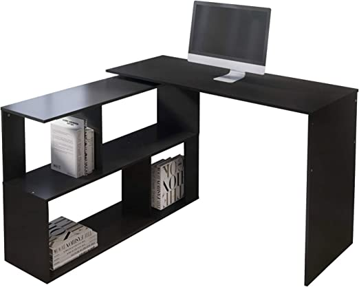 L Shape Corner PC Computer Desk With Keyboard Tray Study Table Workstation Home
