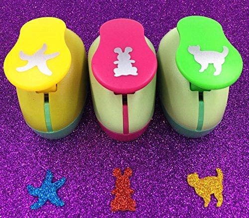 TECH-P Creative Life Hand Press Paper Craft Punch,card Scrapbooking Engraving Kid Cut DIY Handmade Hole Puncher-3 Pack (Sea Star+Rabbit+Cat)