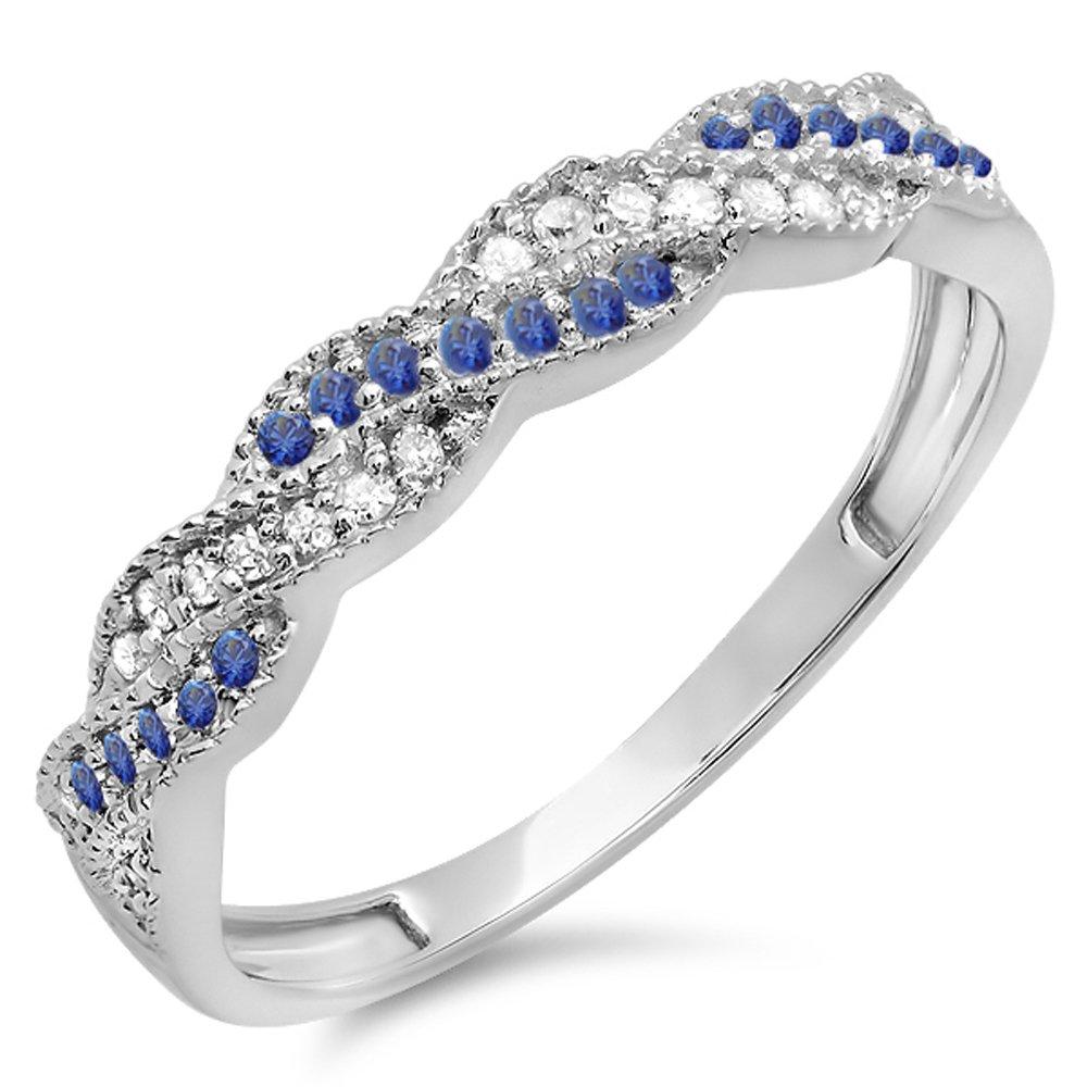 14K White Gold Round White Diamond & Blue Sapphire Ladies Anniversary Wedding Band Swirl Ring (Size 8)