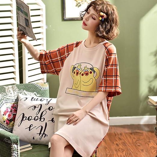 Pijama Nuevo Mono de algodón de Manga Corta para Mujer camisón ...