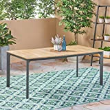 Great Deal Furniture Jace Outdoor Aluminum and Wood Dining Table, Natural