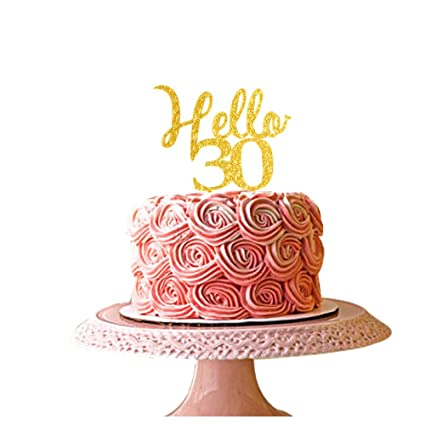 Image Unavailable Not Available For Color Hello 30 Gold Acrylic Cake Topper 30th Birthday Party Decorations