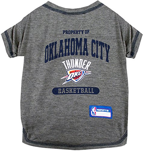 NBA Oklahoma City Thunder T-Shirt for Dog, T-Shirt for cat, Size: Medium. - A Sports Licensed Shirt for Any Occasion! ()