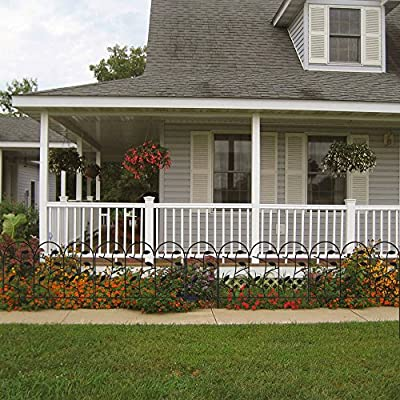 18 Inch Garden Fence 7ft Decorative Garden Fencing Rustproof Iron Animal Barrier Black Metal Fencing Border for Dogs Flower Bed Edge Section Outdoor Wire Patio Garden Folding Fencing Landscape Panels