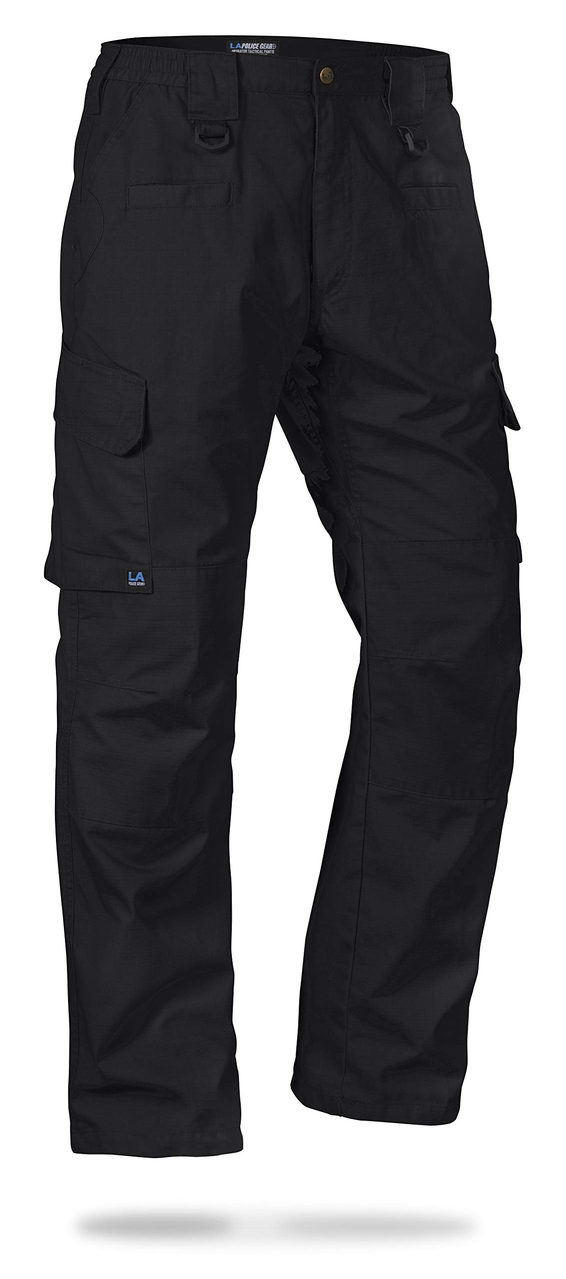 LA Police Gear Men's Water Resistant Operator Tactical Pant with Elastic Waistband Black-42 x 30 by LA Police Gear