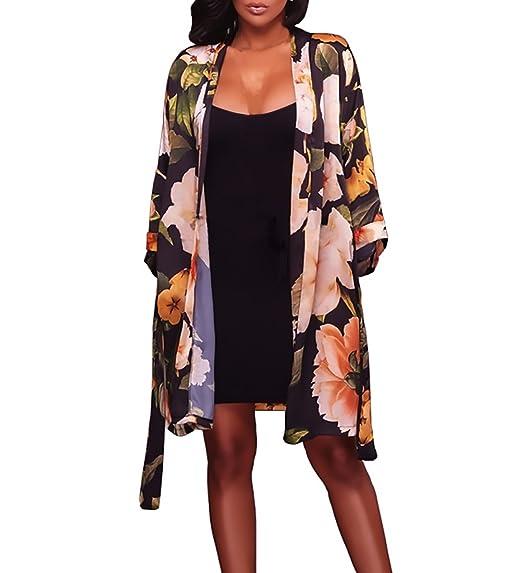 Cardigan Mujer Elegantes Manga Larga De Frente Abierto Moda Vintage Hippie Ropa Fiesta Modernas Estampado Flores Cardigans Kimono Tunicas Playa Outerwear ...