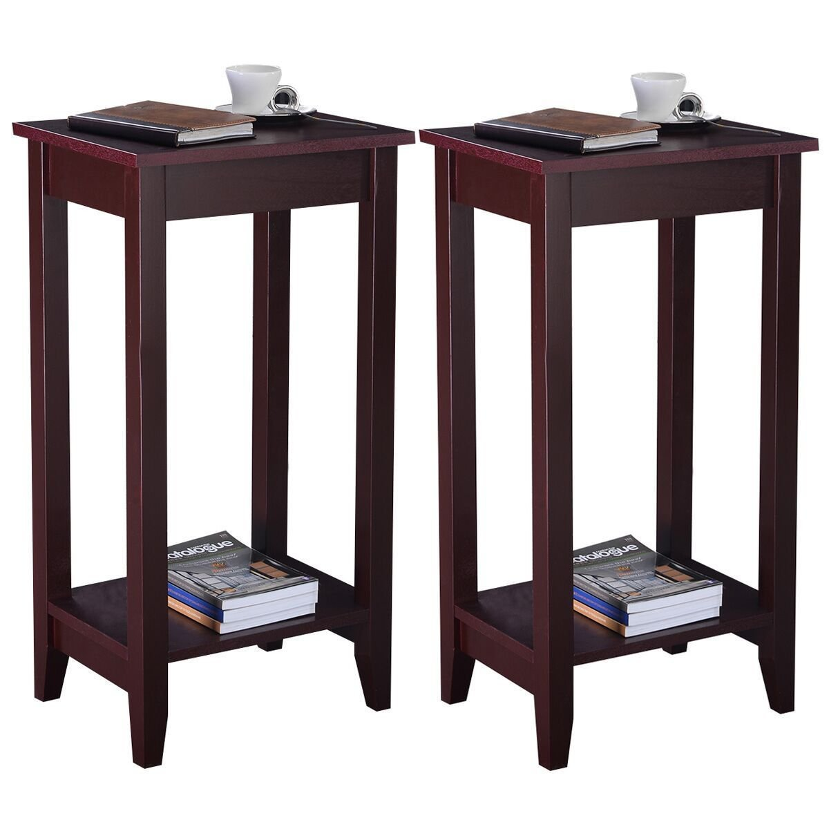 Set of 2 Tall End Brown Coffee Table With Unique Accent